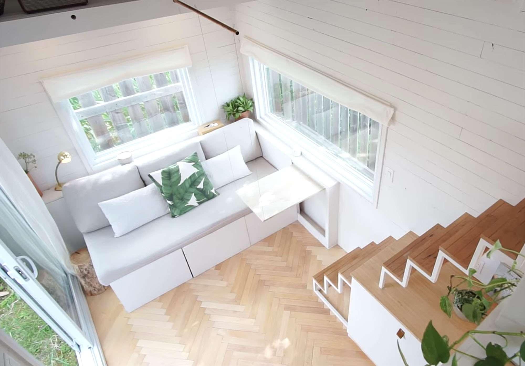 family of three diy tiny house transformer furniture living room transformer sofa