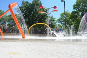 A splash pad at Solo Gibbs Park in Baltimore.
