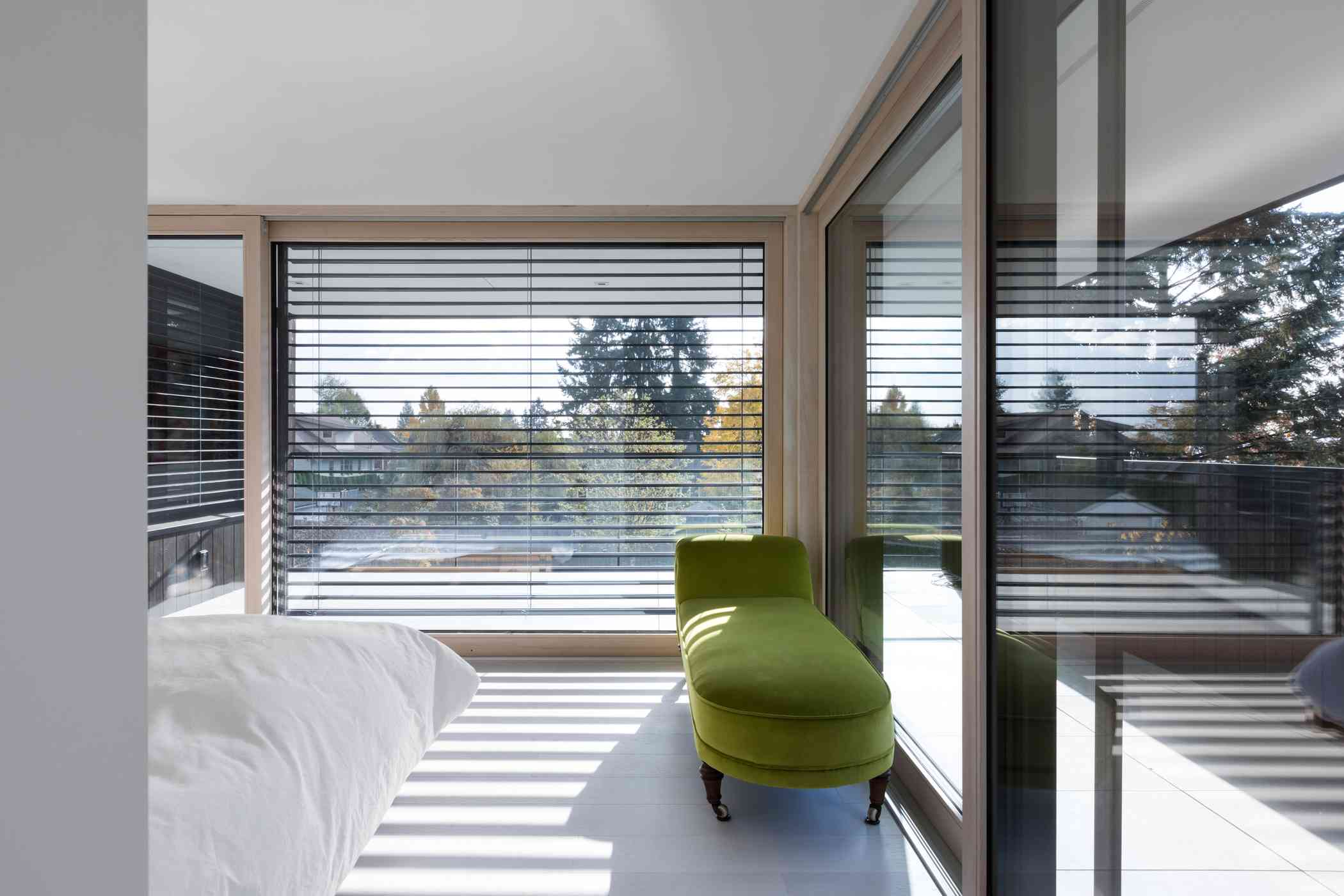 Bedroom with glass all around