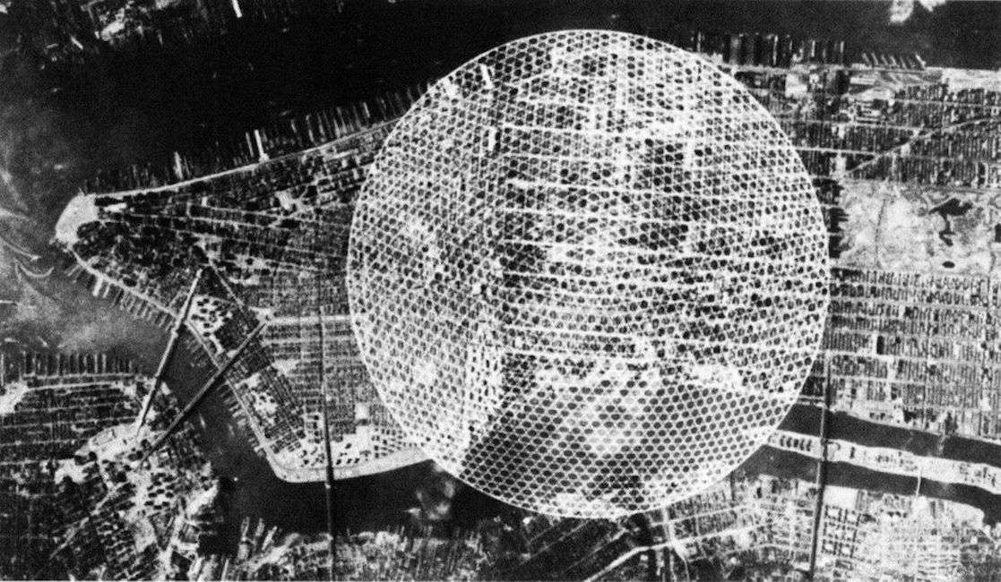 Aerial view of plans for the dome in black and white