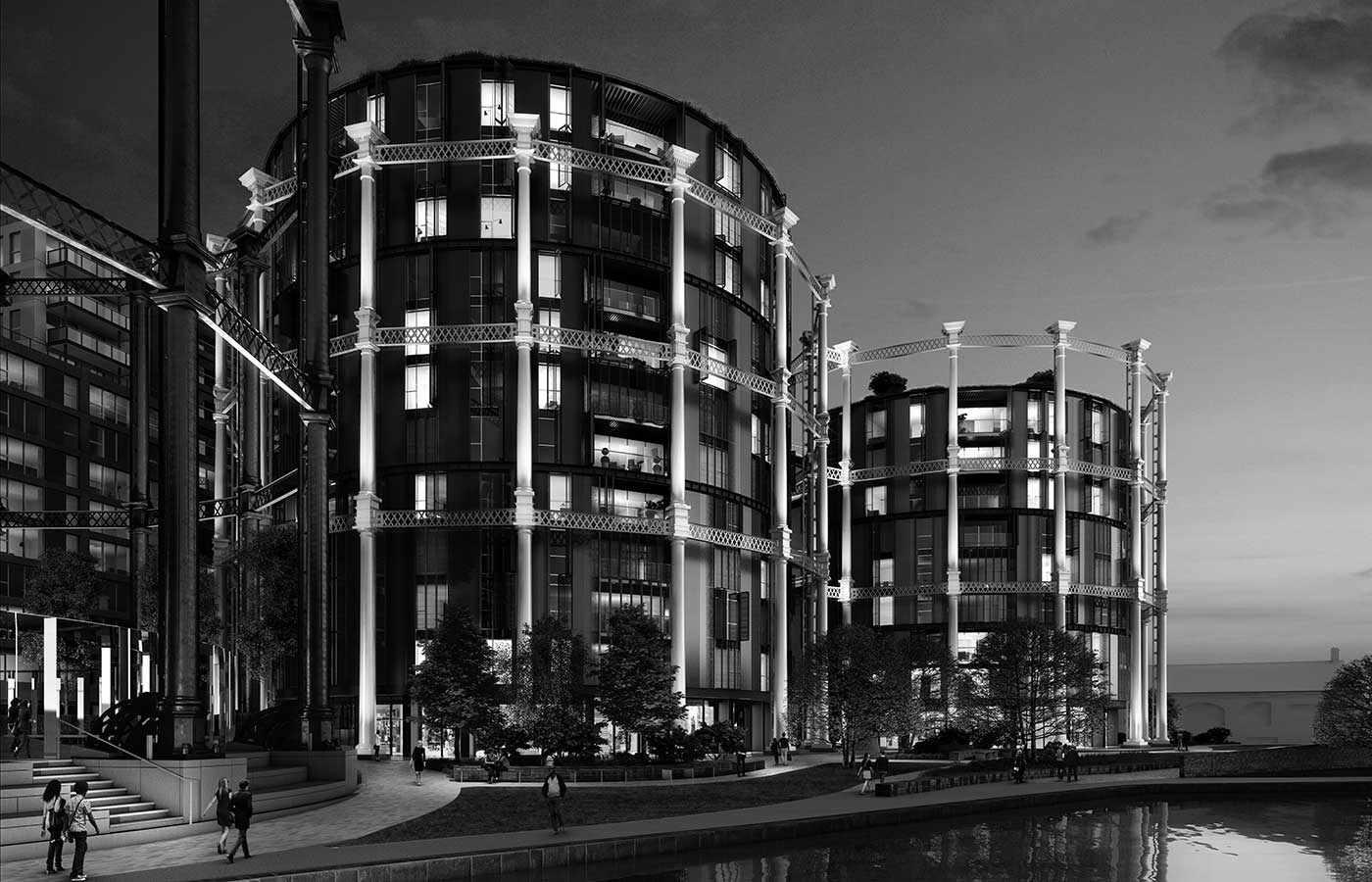 A rendering of the Gasholders London residential development