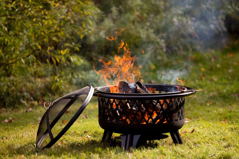 A fire pit burning wood in a setting with bushes and grass.