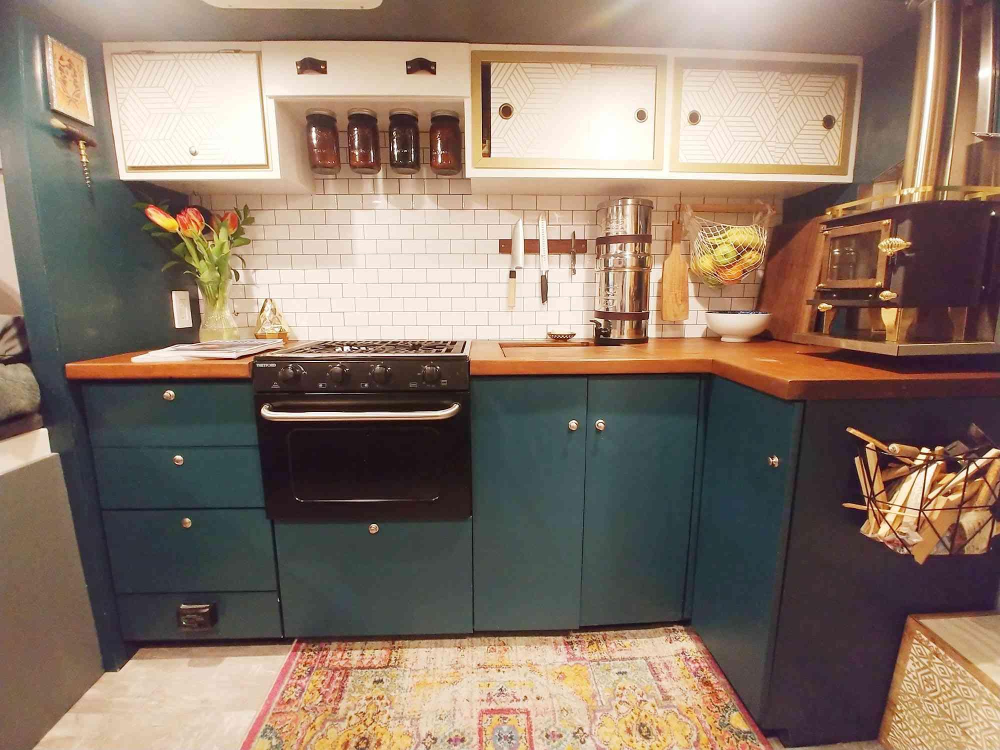 ambulance conversion Amanda Lemay kitchen