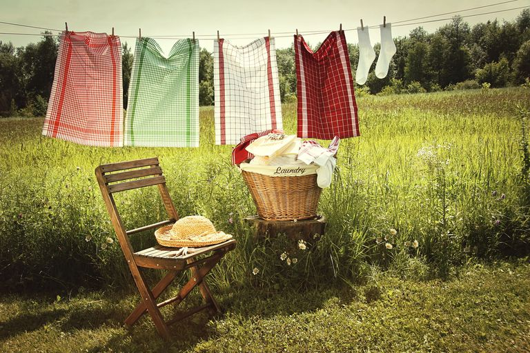 Clothes hanging outside on a clothes line