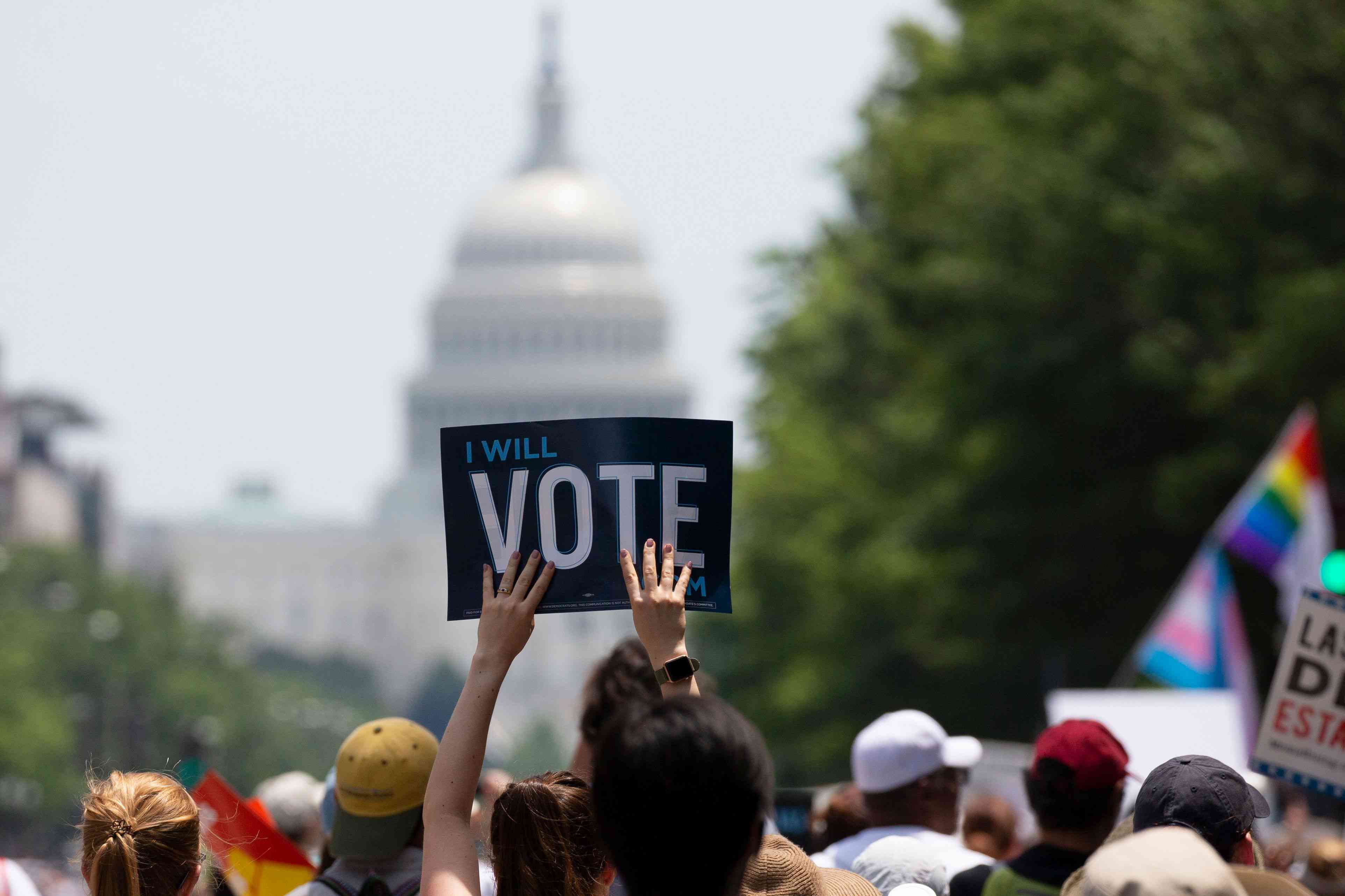 'I Will Vote' sign at protest in Washington, D.C.