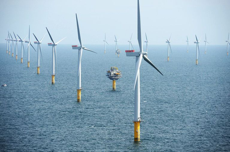 Offshore wind turbines in rows