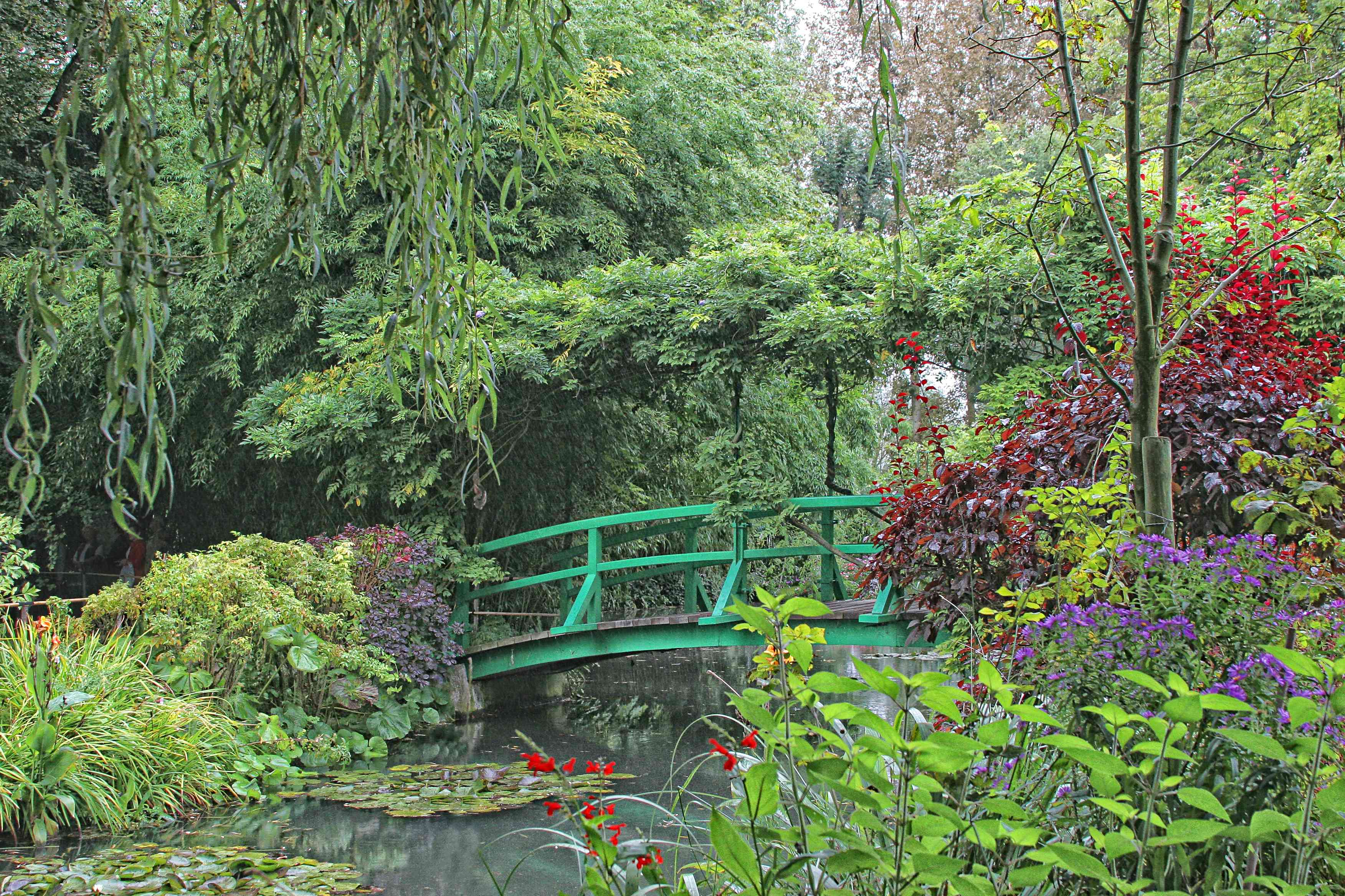 green bridge over the lily pond at Claude Monet's garden at Giverney