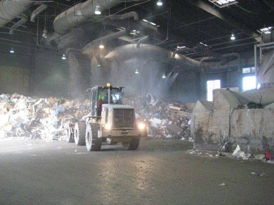 A truck in a waste disposal facility.