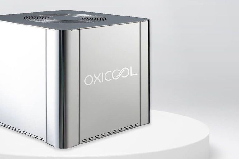 Square silver OxiCool fridge unit with vent on top