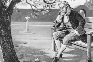 Illustration of Sir Isaac Newton contemplating a fallen apple