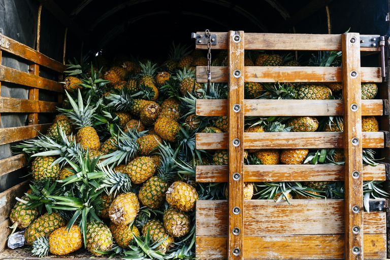 Pineapples piled up in a wood crate.