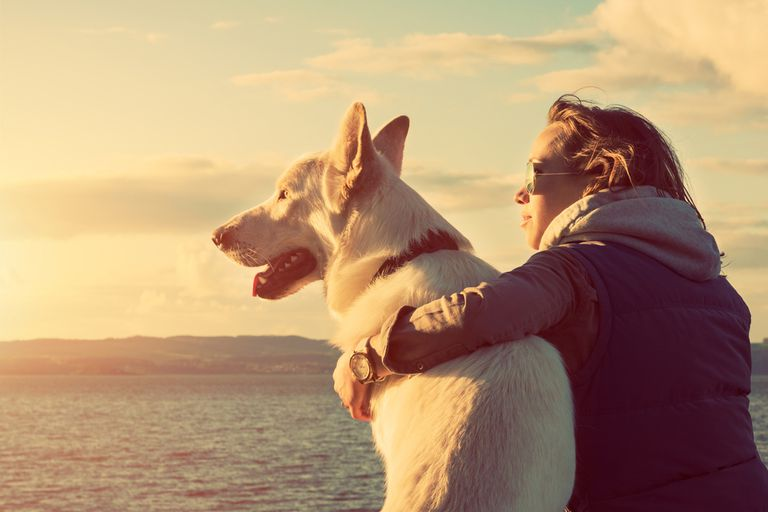 A woman and her dog looking out over the water