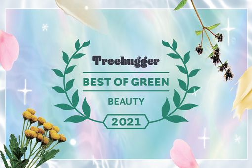 Beautiful illustration showing the Best of Green Awards badge for beauty