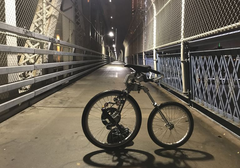 front wheel drive Bellcycle bike on a walking bridge
