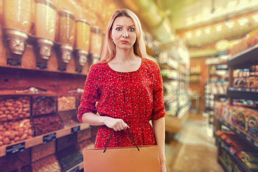 confused woman at supermarket