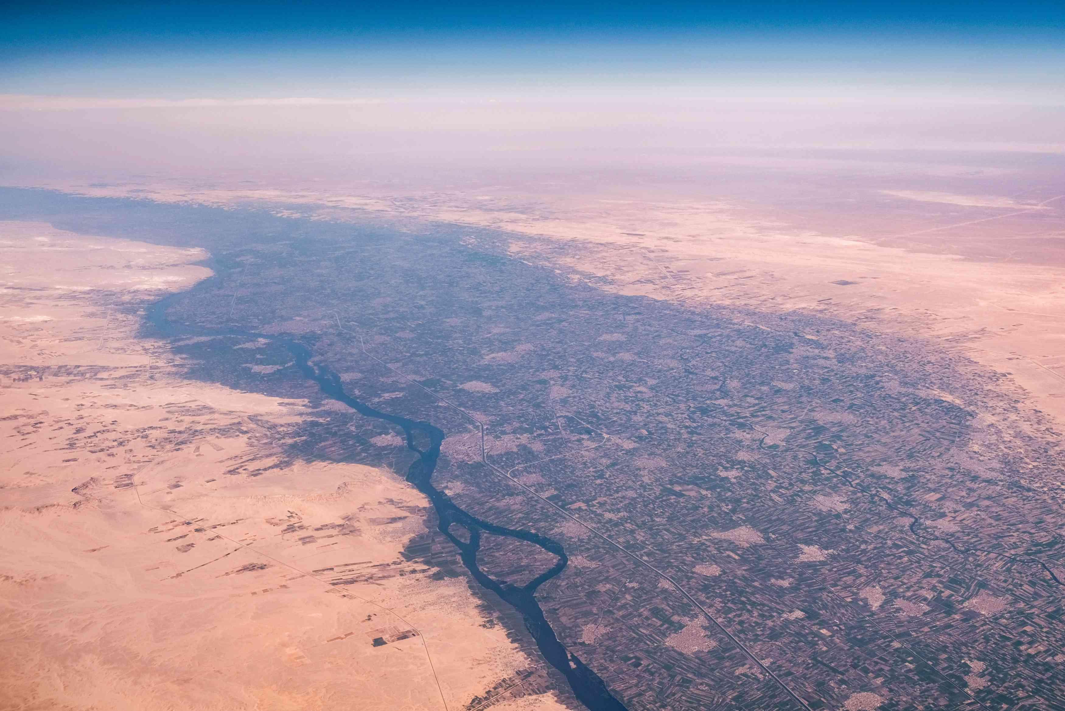 Nile River in the Sahara Desert, Egypt