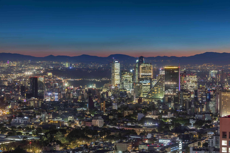 skyline of Mexico City at night