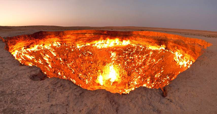 The Darvaza gas crater, or Door to Hell, in Turkmenistan