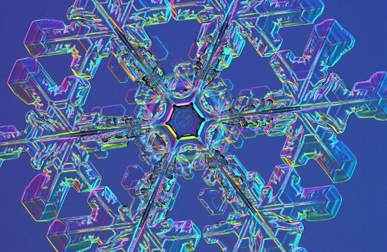 A zoomed in image of a snowflake