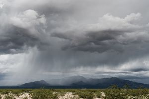 Rain over the Mojave Desert in California.