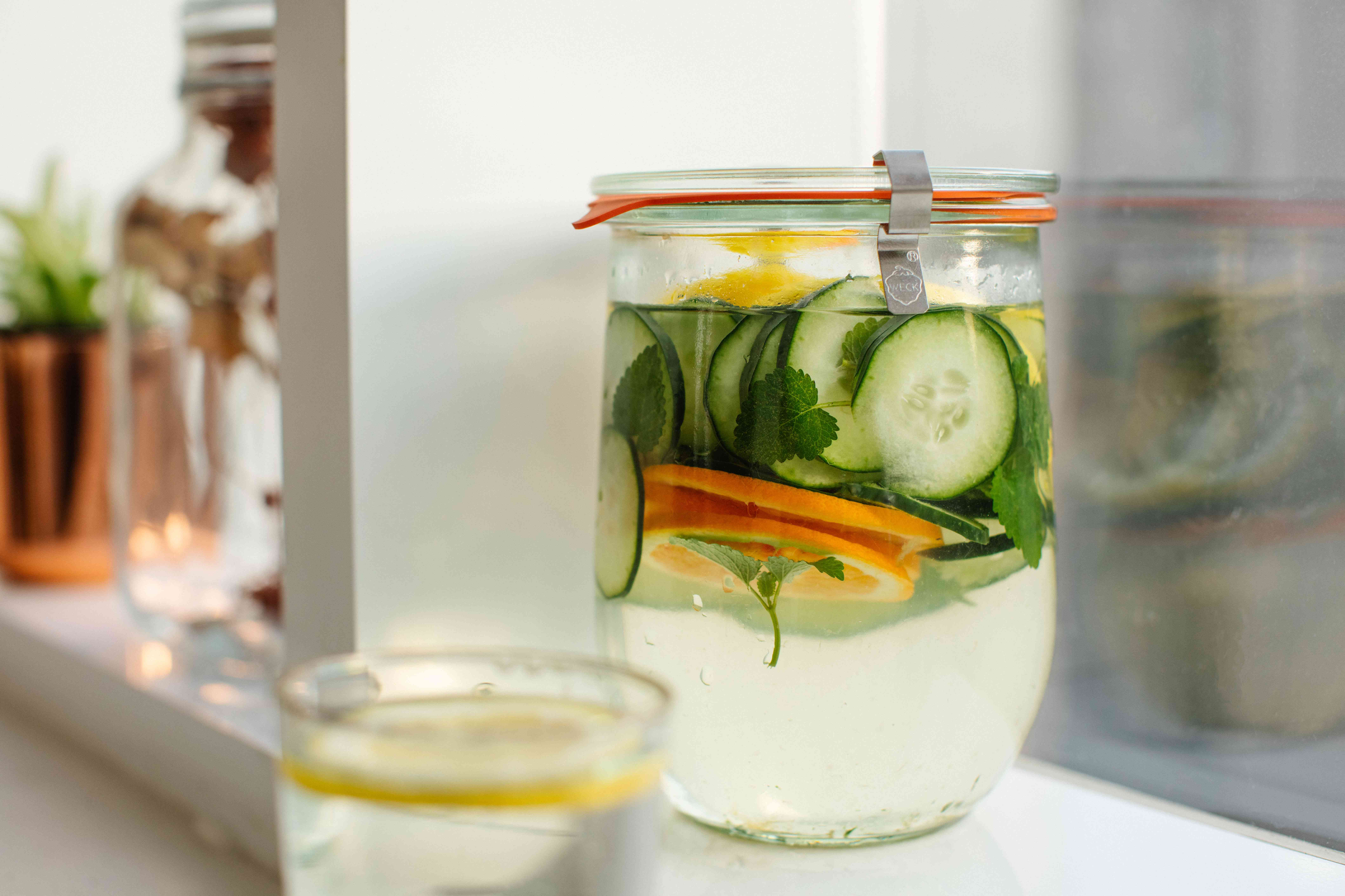 german weck jar with vegetables submerged