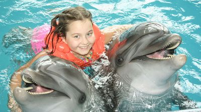 little girl in life jacket hugs two dolphin during a dolphin encounter