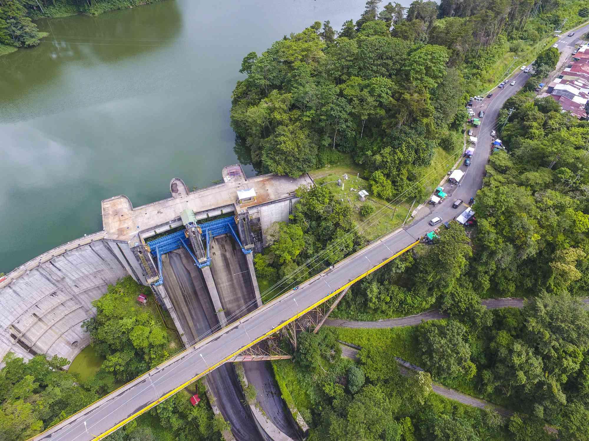 Aerial view of Cachi Dam, Orosi Valley,