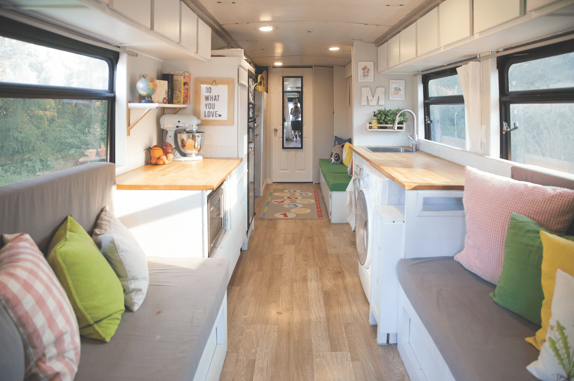 Main living area of Manning bus-home