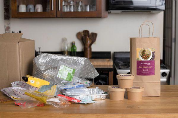 Regular Meal Kit packaging on the left, Housemade on right.