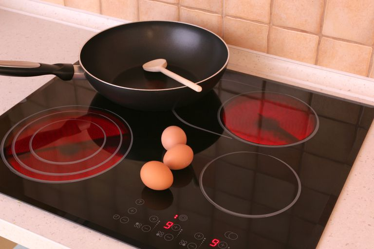 An empty pan sitting on an electric stovetop, with three eggs and a spoon