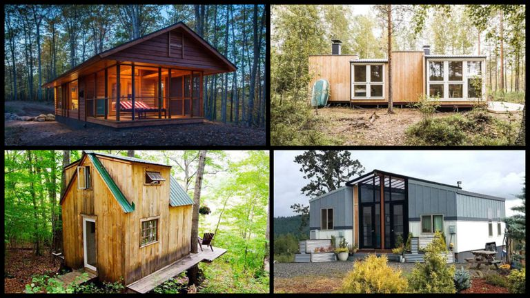 Collage of 4 of the top tiny homes