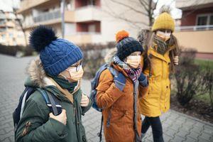 kids walking to school in winter