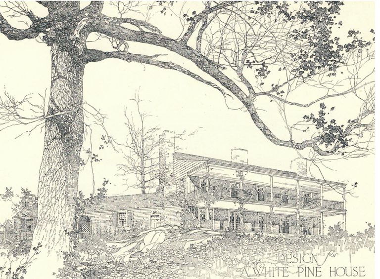 design for white pine house with sleeping porches