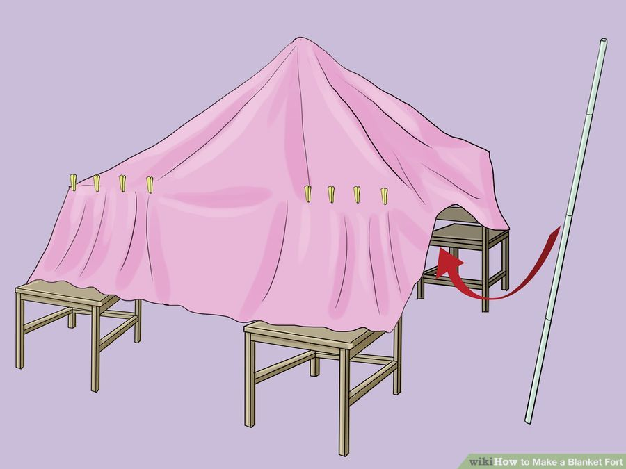 Illustration showing how to construct a teepee fort