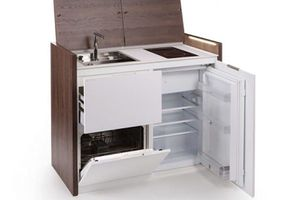 Kitchoo model with open fridge and oven doors beneath a sink and stove top