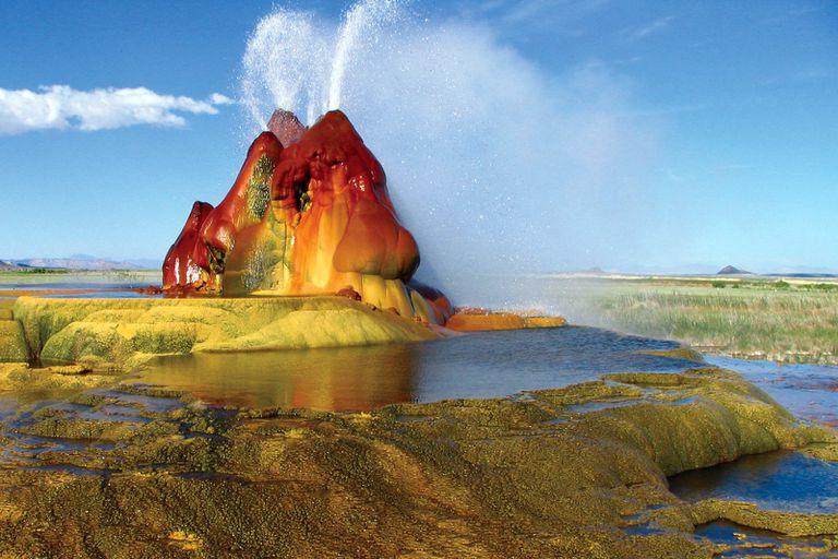 Water sprays from Fly Geyser in Nevada's Black Rock Desert.