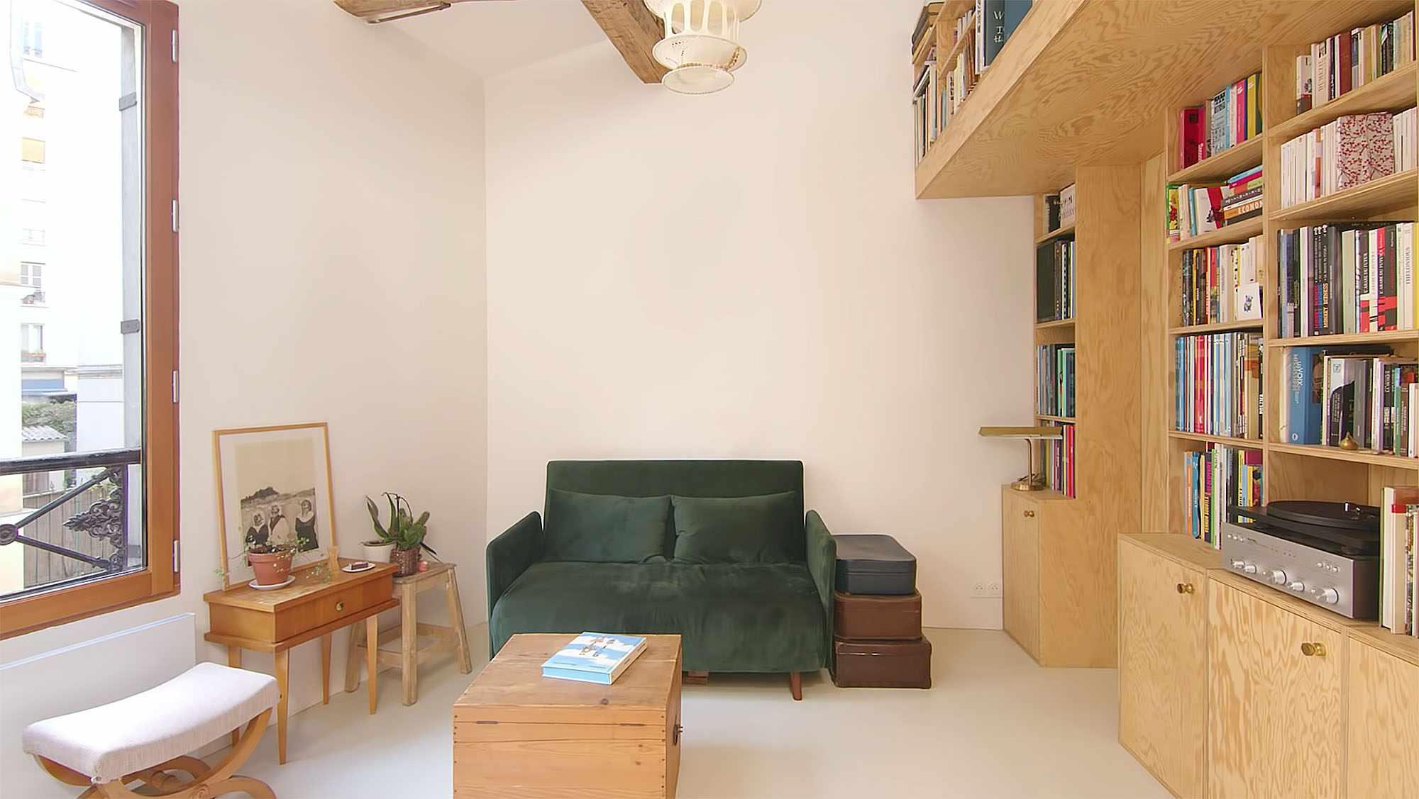 Jourdain micro-apartment renovation Matthieu Torres living roo