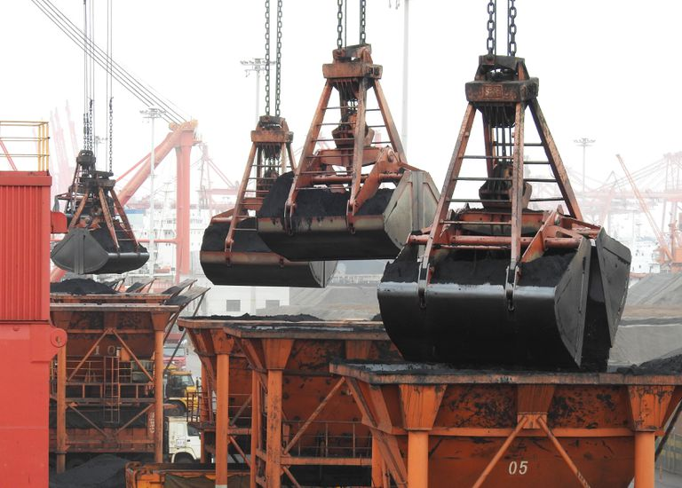Unloading coal in China