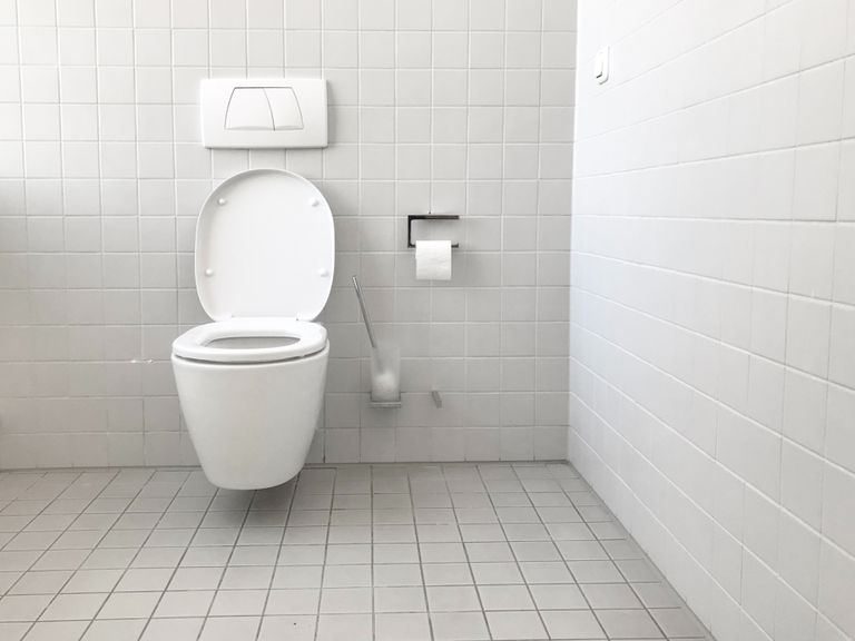 Toilet and toilet paper holder in a white tiled bathroom