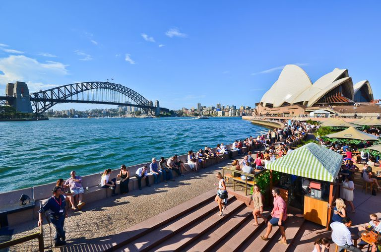 Sydney as seen from the beach with opera house in the background