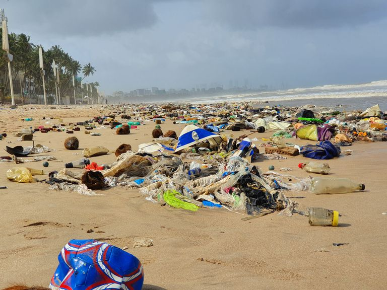 Trash on the beach in Mumbai