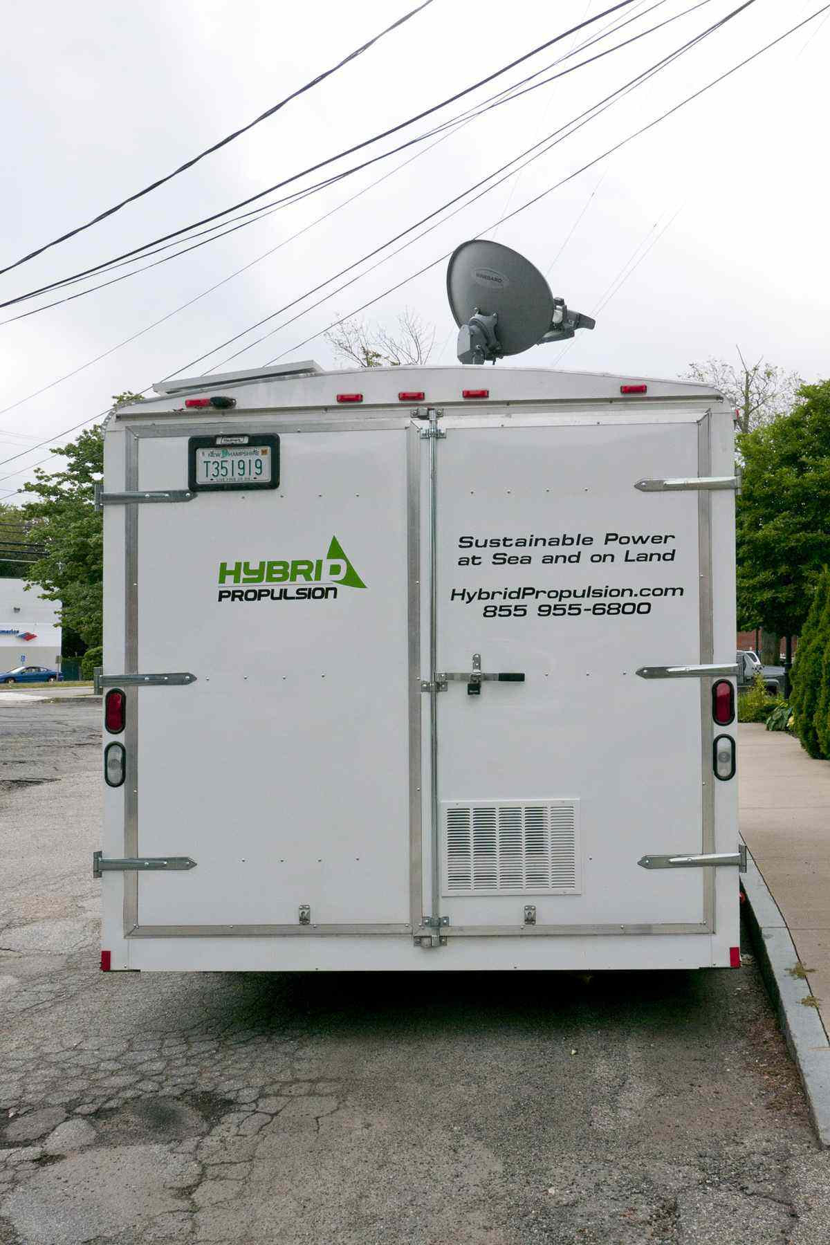 Back view of white trailer