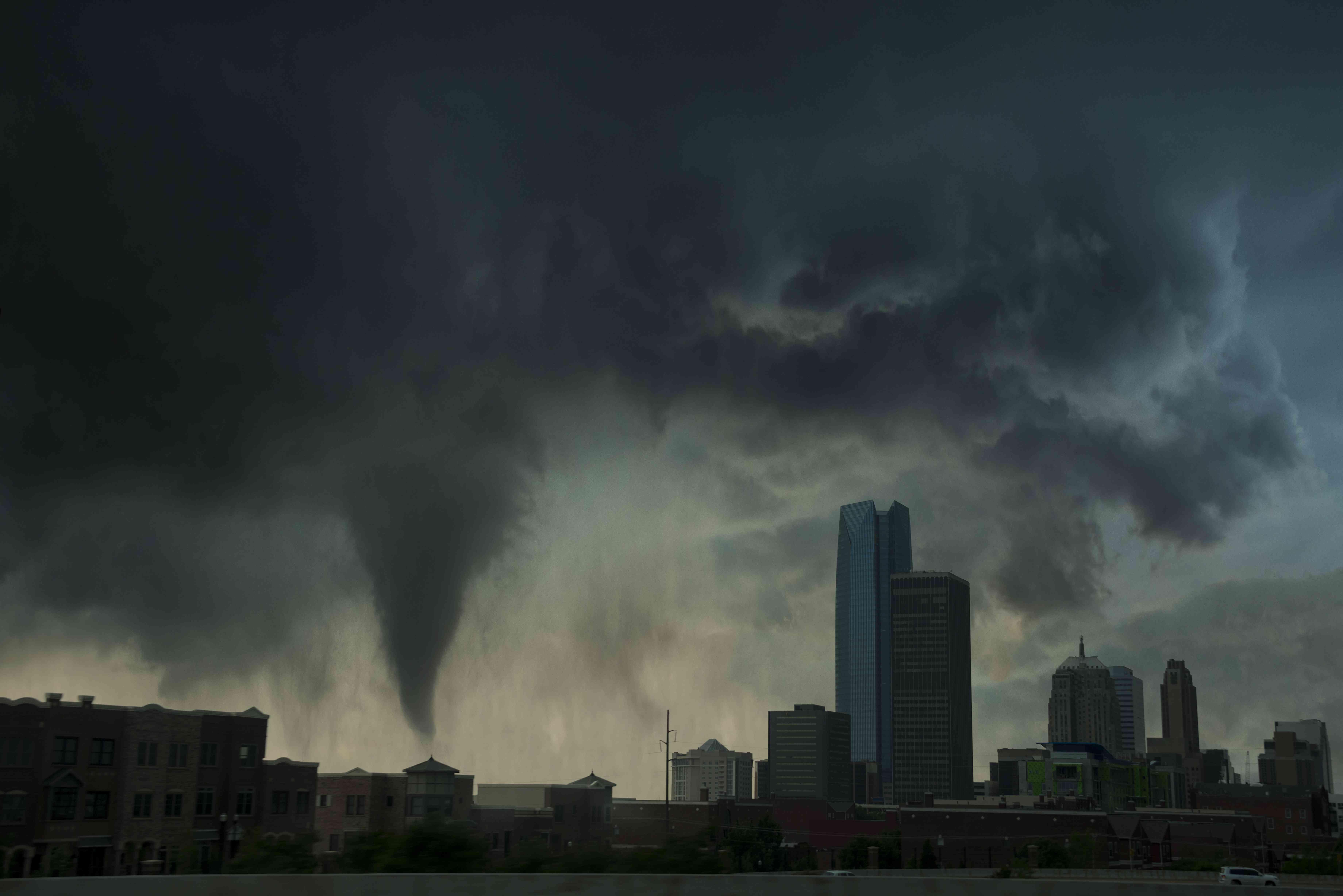Tornado over Oklahoma city. USA.