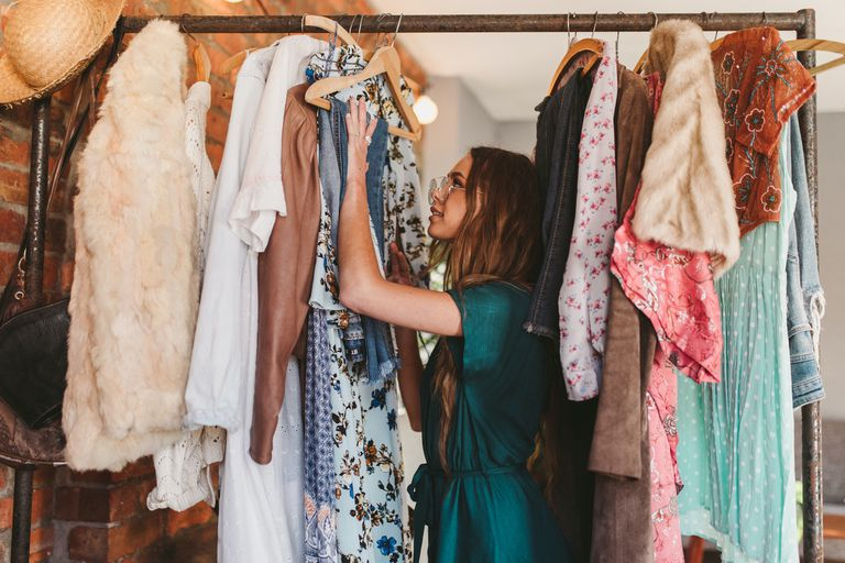 woman in a closet