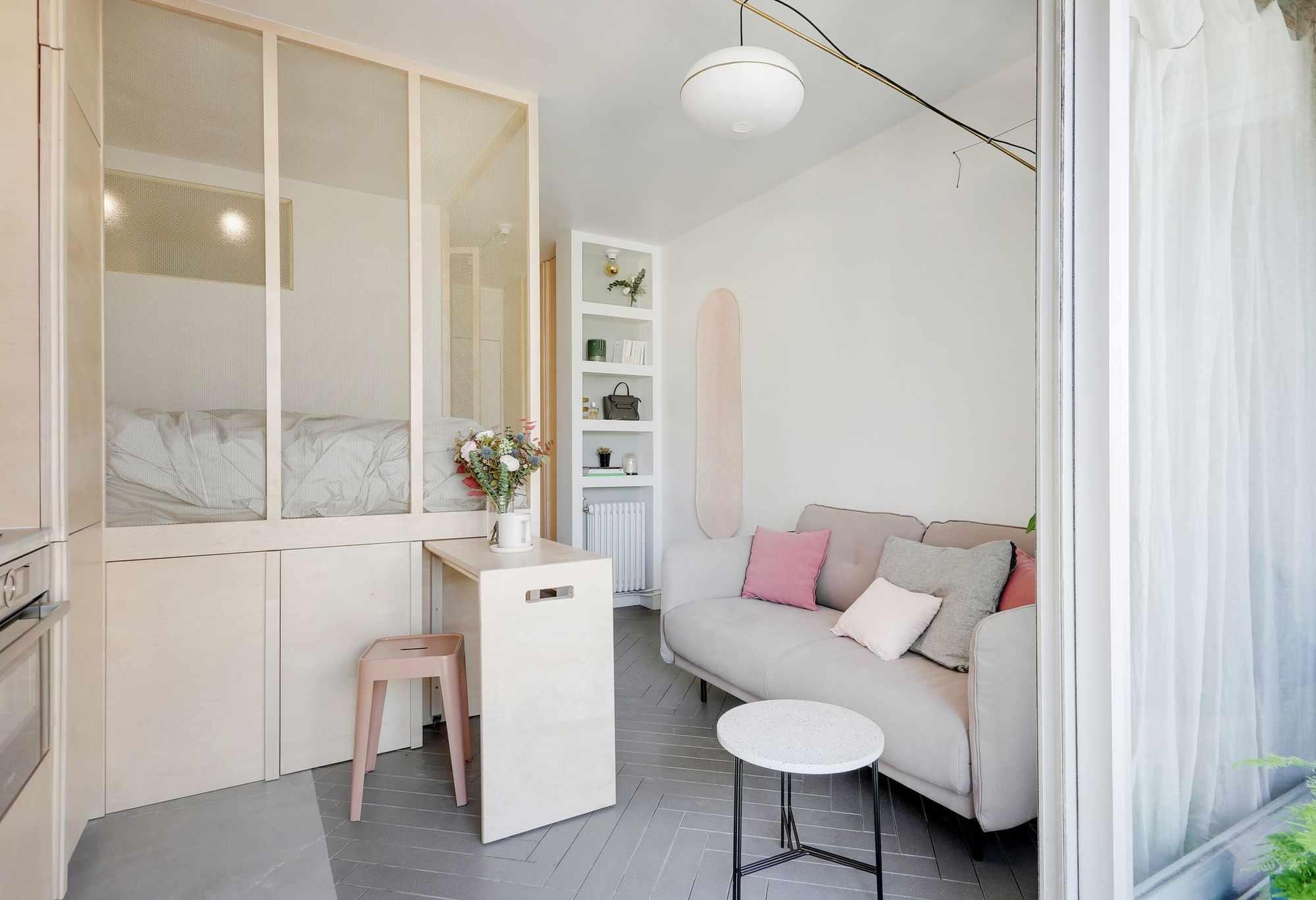 micro apartment rue falguiere renovation Studio Beau Faire roll-out table