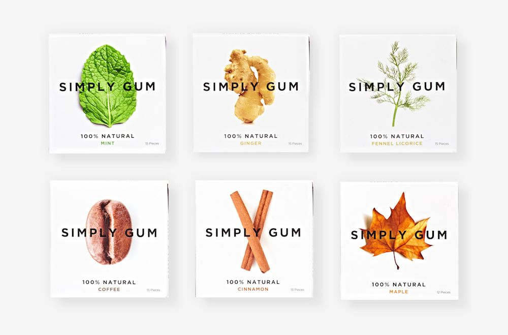 Simply Gum packages of natural bubble gum