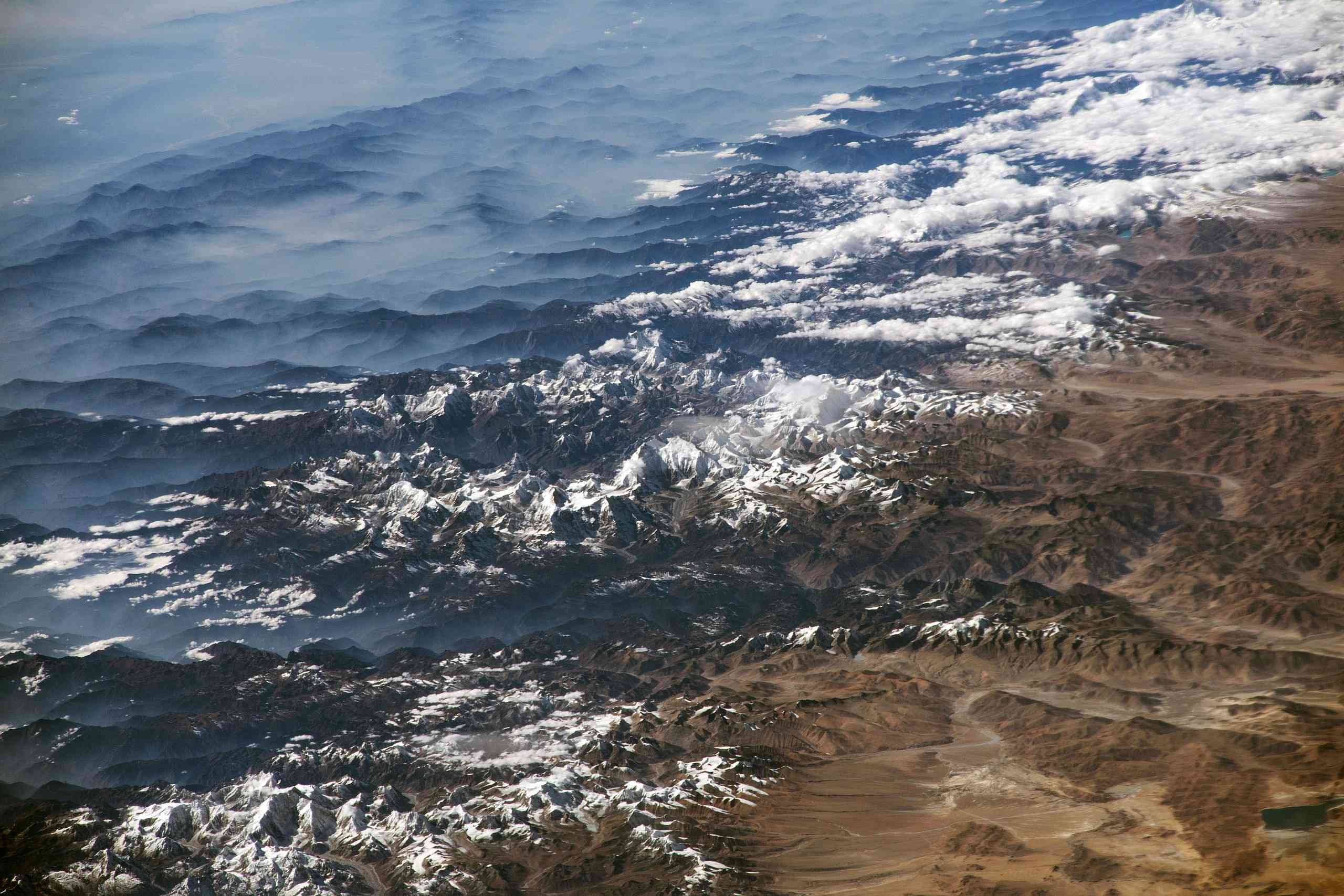 View of the Himalayas from the NASA ISS Expedition 53