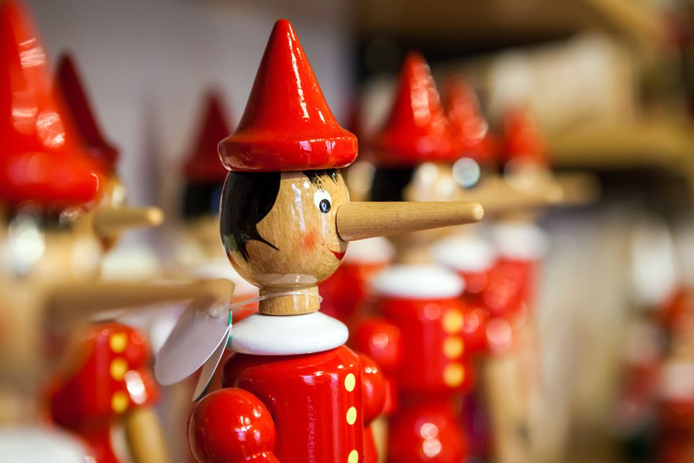 Pinocchio toy with big nose