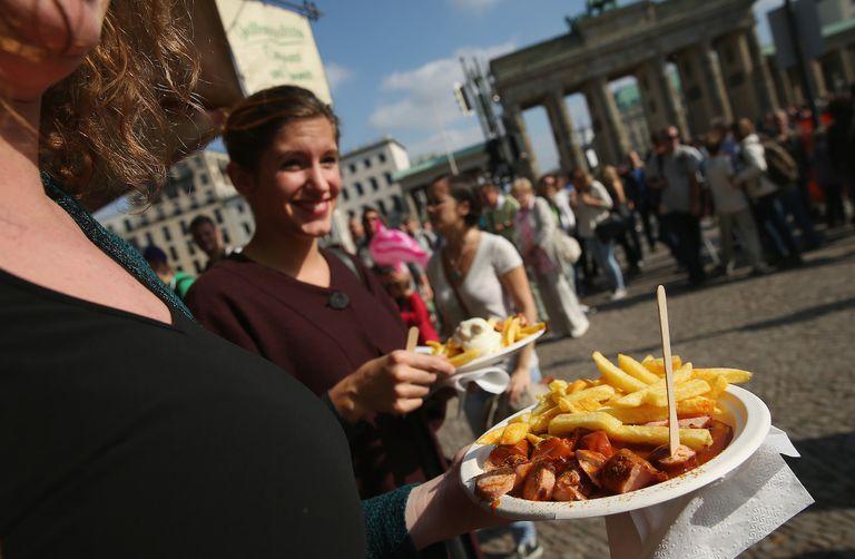 Currywurst near the Brandenburg Gate in Berlin, Germany