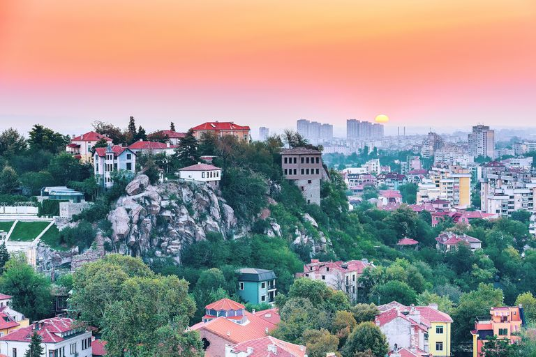 Sunset and city view of Plovdiv, Bulgaria